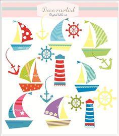 INSTANT DOWNLOAD Digital clip art boat, sail, sail splash