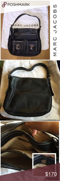 ✨🎓Oct. 14th, Friday SALE EVENT Marc Jacobs Bag Marc Jacobs Black Shoulder Bag with dust bag.. The leather are in excellent condition, no scratches or damages.   There are two pockets and a zipper compartment in the front, with Marc Jacobs inscriptions on the buckles. There are also 3 divided sections for compartments as seen on the 3rd picture.   Only sign of wear are minor scratches on the front buckles and two red dots inside the bag right above the Marc Jacobs. not noticeable. The inside…