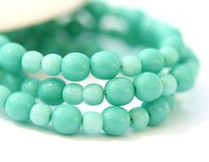 Small beads czech glass beads mix Turquoise green for jewelry making