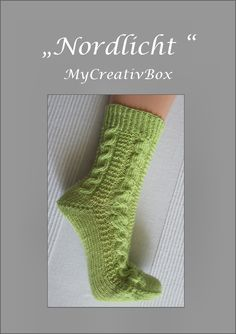 """Socken """"Nordlicht"""" für Gr. 32-47, Anleitung von MyCreativBox, gestrickt mit Sockenwolle 4-fach"""
