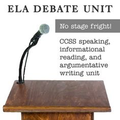 "Full ELA Debate Unit assessing CCSS standards for informational text reading, argumentative writing, and speaking! Small group format and student choice gives a ""no stage fright"" experience to engage friendly competition! Also includes flipped-classroom vocabulary and 46 pages of lessons, readings, examples, and rubrics!"