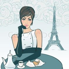 Vector of 'Beautiful brunette girl in the street cafe in Paris drinking coffee'