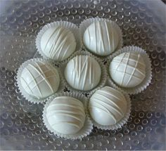 Wedding Cake Bite Truffles - white on white gourmet chocolate dipped cake balls for bridal showers, baby showers, rehearsal dinners (36)