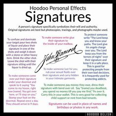 Signatures in hoodoo