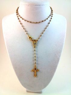 22 Smoky Quartz Gold Rosary Necklace Womens by divinitycollection, $89.00