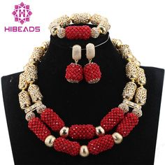 > CLICK IMAGE TO BUY < Fantastic Dubai Gold Bridal Statement Necklace Set Red African Beads Jewelry Sets Crystal Beads Wedding Jewelry QW1076 ~ Find similar beautiful pieces on  AliExpress.com. Just click the image. #DubaiJewelry