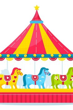 Kids Amusement Parks, Bright Decor, Merry Go Round, Little Pony, Carousel, Design Bundles, Carnival, Concept, Horses