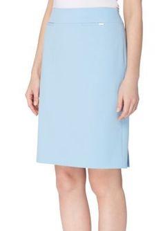 Tahari Asl Women's Wide Waist Double Back Vent Skirt - French Blue - 18