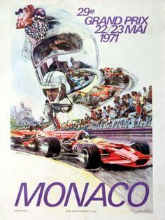 Monaco 1971 Grand Prix - original vintage poster by S Carpenter listed on AntikBar.co.uk