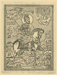 Saint Minas is celebrated on 11 November. Orthodox Icons, Byzantine, Vintage World Maps, Saints, Cool Stuff, Drawings, November, Blog, Tattoos