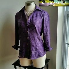 .COLDWATER CREEK...FINAL PRICE...BLOUSE ...EXCELLENT CONDITION .. ...LIKE BRAND NEW ...NO FLAWS ...GORGEOUS  ...A MUST HAVEEEEE  ...true to its Size and color ...color...lavender purple  ...PLEASE READ.... ...TAG S...BUT FITS MEDIUM AS WELL ...FOR SMALL SIZING ... IS LOOSE FEEL ...2 pic up close ...button down blouse  ...beautiful design throughout  ...collar neck line ...3 /4 sleeves ...comfortable  ...MTRL...adding soon ...better in person Coldwater Creek Tops Blouses