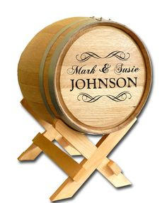 Wedding Wine Barrel Card Box - Personalized