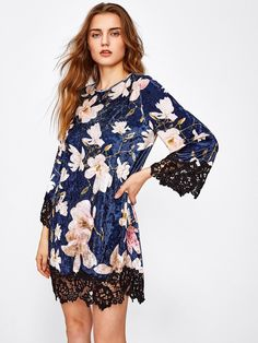 SheIn - SheIn Contrast Lace Hem Floral Crushed Velvet Dress - AdoreWe.com