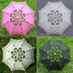 "21"" Kids Handmade Battenburg Lace Cotton Parasol Umbrella Bridal Wedding Decor #ParasolUmbrella"