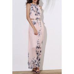$14.86 Fashionable Round Collar Sleeveless Floral Print Women's Maxi Dress - Pink