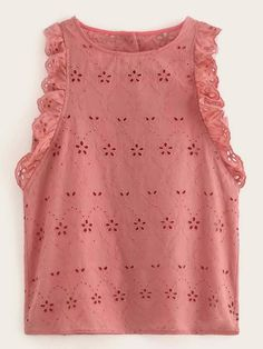 Shein Eyelet Embroidery Button Back Ruffle Trim Tank Top Look Fashion, Kids Fashion, Fashion Design, Looks Plus Size, Western Dresses, Office Outfits, Clothing Patterns, Blouse Designs, Fashion Dresses