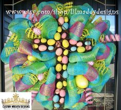 christmas deco mesh cross   Easter Egg Wicker Cross Mesh Wreath by lilmaddydesigns on Etsy