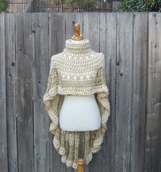 BEIGE CREAM PONCHO Crochet Knit Chic Boho Poncho Trendy Unique Feminine Victorian Elegant