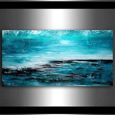 """PEINTURES abstraites grand océan turquoise, Original Art moderne, Art contemporain 72"""" huile Abstrait Art mûr, décoration, Art de mur"""