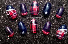 Punk Rock Plaid Tartan Red & Black Studded false/fake 3D nails Japanese nail art Gyaru Rokku Punk