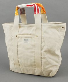 canvas Porter bag with fabric scrap handles