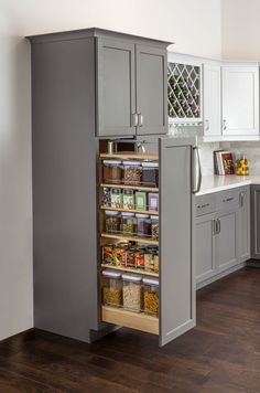 Kitchen Pantry Design, Diy Kitchen Storage, New Kitchen Cabinets, Modern Kitchen Design, Home Decor Kitchen, Kitchen Interior, Home Kitchens, Small Pantry Cabinet, Kitchen Appliances