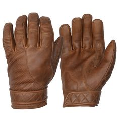 Goldtop Short Cuff Bobber Motorcycle Gloves made from Cowhide Leather in a Waxed Brown colour. Featuring a mix of perforated, quilted, and ribbed stylings, these motorbike gloves are also fleece-lined for both warmth and comfort. Motorcycle Riding Gloves, Bike Gloves, Bobber Motorcycle, Motorcycle Outfit, Vintage Cafe Racer, Triumph Motorcycles, Leather Gloves, Cowhide Leather, Urban