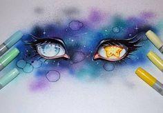 Sketch Eyes Moon and Stars by Lighane - Amazing Drawings, Beautiful Drawings, Cute Drawings, Amazing Art, Awesome, Arte Copic, Copic Art, Eye Manga, Anime Eyes