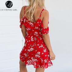 Lily Rosie Girl Deep V Neck Red Floral Print Ruffles Mini Dress Women Off Shoulder Summer Beach Sexy Boho Short Dresses Vestidos