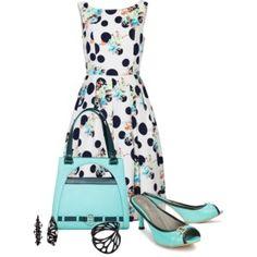 Casual outfit: Aqua - Floral - Polka dot