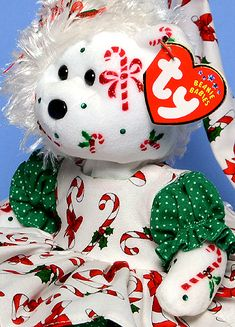 Candy Canes & Holly, Tina Tate custom dressed and decorated Ty Beanie Baby reference information and photos. Christmas Teddy Bear, Christmas Animals, Christmas Themes, Beanie Baby Bears, Ty Beanie Boos, Expensive Beanie Babies, Beanie Babies Value, Ty Bears, Ty Babies