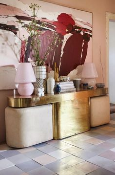 Vintage Interior Design Burgundy peach blush artwork with gold vintage console table - At what point does a trend just become something you really love? I'm talking all about my feelings on blush pink and how I'm not ready to let go of it yet! Contemporary Interior Design, Decor Interior Design, Interior Styling, Interior Decorating, Interior Colors, Interior Livingroom, Bathroom Interior, Contemporary Style, Modern Design