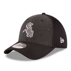 8a2b349751644 Men s Chicago White Sox New Era Heathered Gray Black Neo 39THIRTY Flex Hat