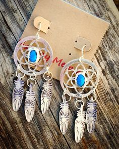 Sterling Silver and Turquoise Sacred DreamCatcher Earrings by MaedayMetals on Etsy
