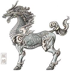 Qilin (Chinise) o Kirin (Japanese) Creature Feature, Creature Design, Magical Creatures, Fantasy Creatures, Tattoo Studio, Thailand Art, Thai Art, Chinese Art, Asian Art