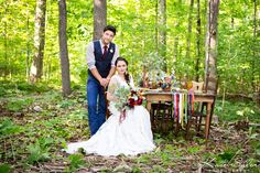 Stunning bohemian bridal inspiration and romantic bride and groom photos with farm table set up and geometric accents - Kate Saler Photography www.katesalerphotography.com A Touch of Whimsy Events Parsonage Events Genna Cowsert Design Sweet Artisan Marshmallows
