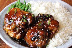 5 Ingredient Baked Chicken Teriyaki Recipe Main Dishes with chicken thighs, sake, sugar, mirin, soy sauce, ginger, garlic