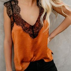 Wholesale Tank Tops, Cheap Orange One More Night Lace Cami Tank Online Plus Size Tees, Loose Tank Tops, Blouses For Women, Shirt Style, Fashion Outfits, Fashion Women, Orange, Casual, Clothes