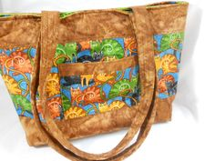 Tote Bag Zipper Bag Large Purse Whimsical by LakesideQuiltsMaine, $44.00