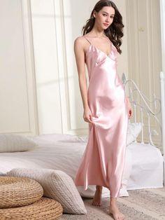Amoureuse Satin Nightgown Fuschia Pink Plus Long Cap Sleeves Flirty Size Choice