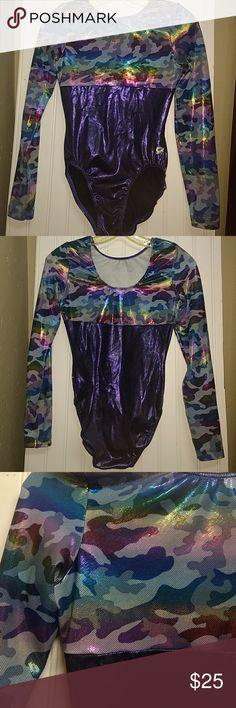 Girls Leotard/bodysuit Beautiful girls one piece bodysuit/leotard for dance, gymnastics or just dress up fun!  The entire suit sparkles and shines with a purple based color that shimmers into rainbow colors.  Very stretchy! Like new condition, smoke free home. gk One Pieces Bodysuits