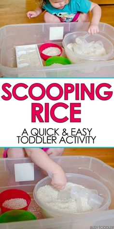 SCOOPING RICE SENSORY BIN: A great practical life skills activity for young toddler; easy indoor activity for toddlers; sensory bins for toddlers # indoor activities for toddlers 2 year olds Scooping Rice Sensory Bin - Busy Toddler Indoor Activities For Toddlers, Toddler Learning Activities, Montessori Activities, Infant Activities, Learning Games, Kids Learning, Babysitting Activities, Montessori Toddler, Toddler Play