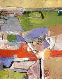 "Richard Diebenkorn -  'Berkeley Series' #23, 1955.  ("" Berkeley #23 and #39 have an increased variety of colour and calligraphic vitality. The grid-like sections of heavily stroked paint are separated by fragments of line drawing, giving the effect of an aerial landscape ending in a narrow strip of sky. Some of the last paintings in the series return to the desert landscape colours arranged in a more ordered formality."" Poul Webb)"