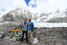 Iba Award winner Melissa Arnot and Phil Lakin Jr. at Everest base camp with the Khumbu icefall in the background.