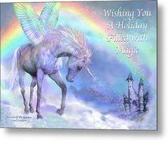 Unicorn Of The Rainbow Card Metal Print by Carol Cavalaris Unicorn And Fairies, Magical Unicorn, Beautiful Unicorn, Unicorn Horse, Unicorn Art, Castle Unicorn, Unicorn Pictures, The Last Unicorn, Rainbow Card