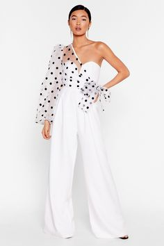 Catch a Chill Organza Polka Dot Jumpsuit Dots Fashion, Fashion Design, One Shoulder Jumpsuit, Western Dresses, Dot Dress, Designer Dresses, Marie, Nice Dresses, Fashion Dresses