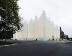Translucent ribbed glass of the Philharmonic Hall in Szczecin, Poland. Designed by architecture firm Barozzi Veiga.