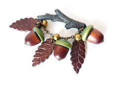 Vintage Retro Wood Brooch with Brown and by PopAndGlamVintage