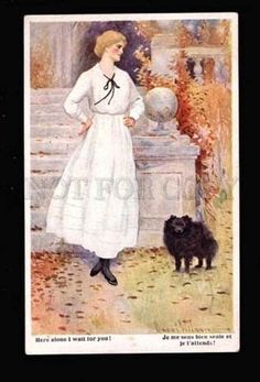 016337 Young Lady & Black SPITZ Dog by WILSON Vintage color PC