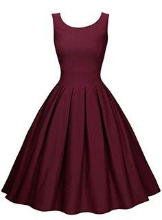 Miusol Damen Elegant Rundhals Traegerkleid 1950er Retro C...…